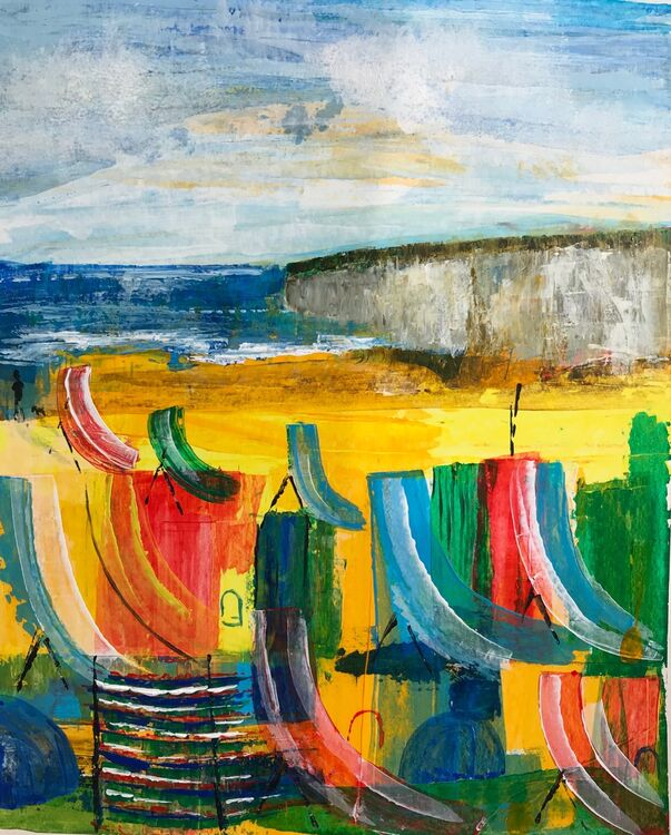 'Empty beach apart from person walking a dog' - acrylic