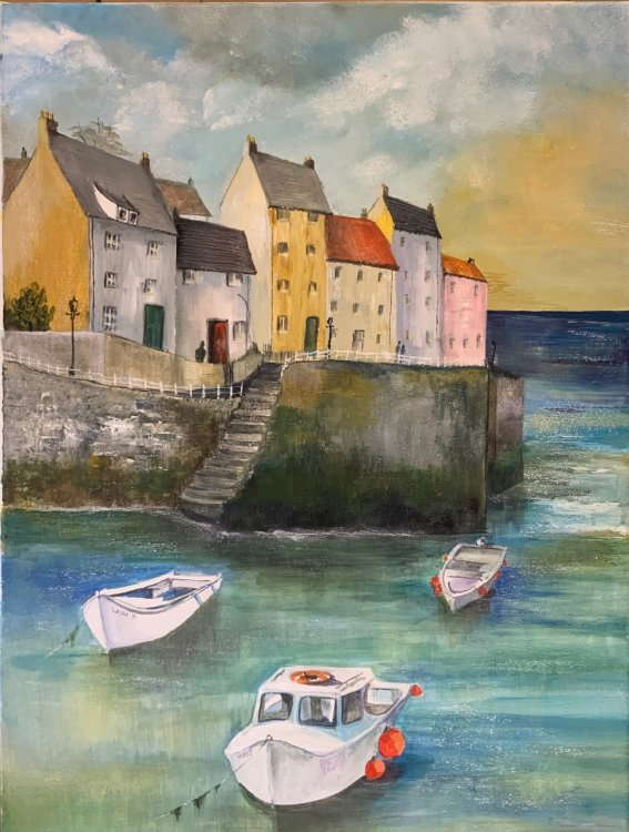 'Harbour with boats'' Original and prints available