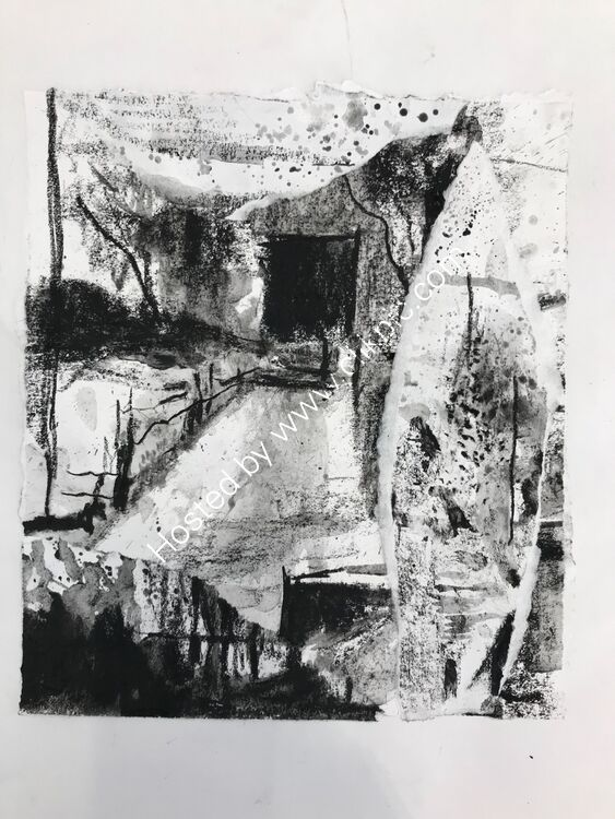 Charcoal sketch abstracting from landscape no 5