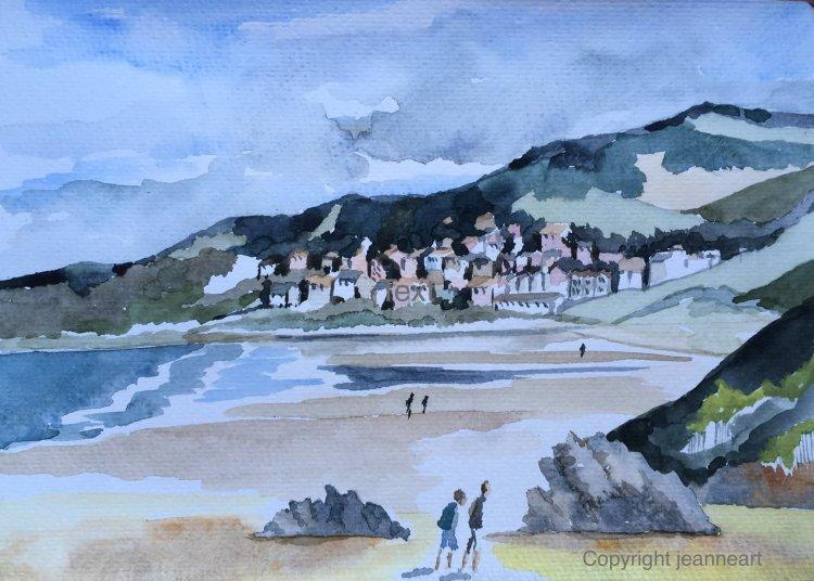 Putsborough Beach North Devon. Watercolour