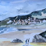 Putsborough Beach North Devon. Watercolour