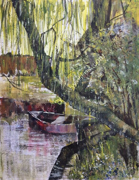 Boat under Weeping Willow Tree' Acrylic