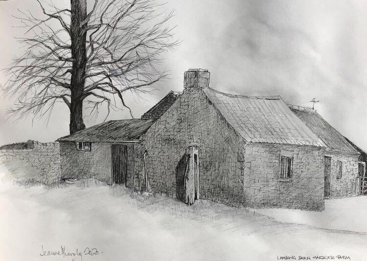 Lambing Barn Hardgate Pencil drawing. Plein air