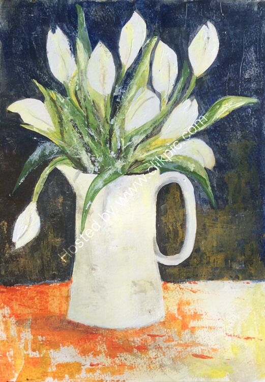 'White tulips in a White jug' Acrylic