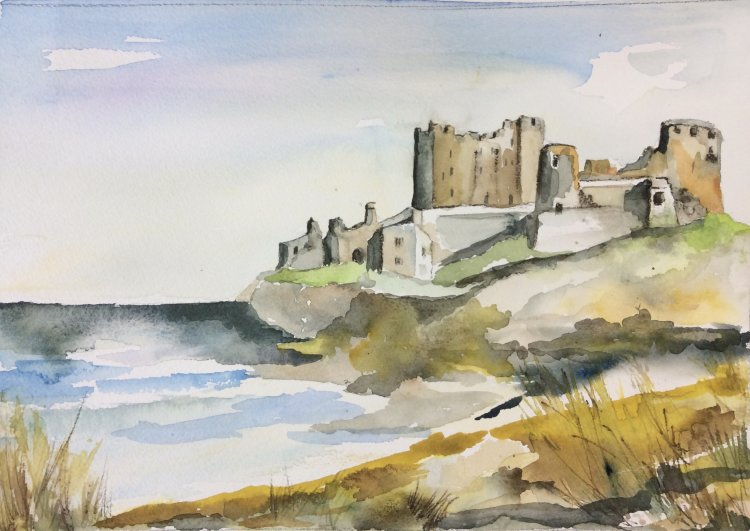 Bamburgh Northumberland  Watercolour