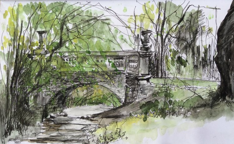 Bridge Boynton Hall East Yorkshire pen and watercolour