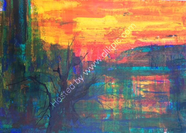 Bright Skies Burning Like Fire - abstract acrylic SOLD