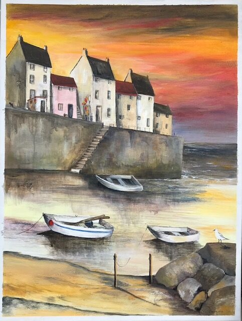 'Insprired by Staithes no 2' Commission - Acrylic on canvas SOLD (no prints)