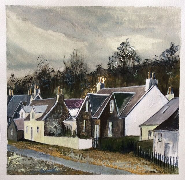 Cottages Annat Wester Ross Scotland - acrylic
