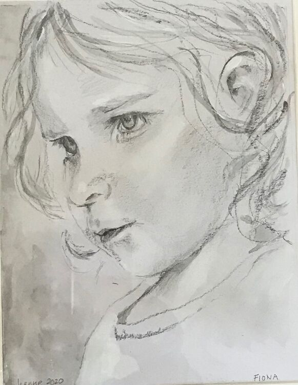 Fiona -  pencil and wash with highlighting