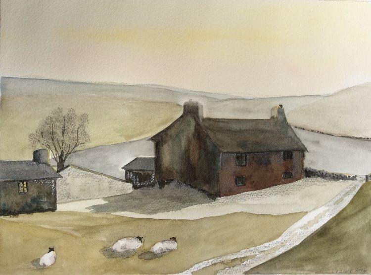 Dales farmhouse sunset Watercolour