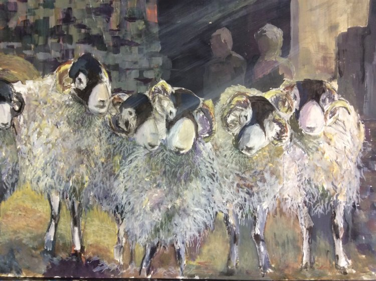 Dancing in the light of the barn - Swaledale sheep Original SOLD (prints available)