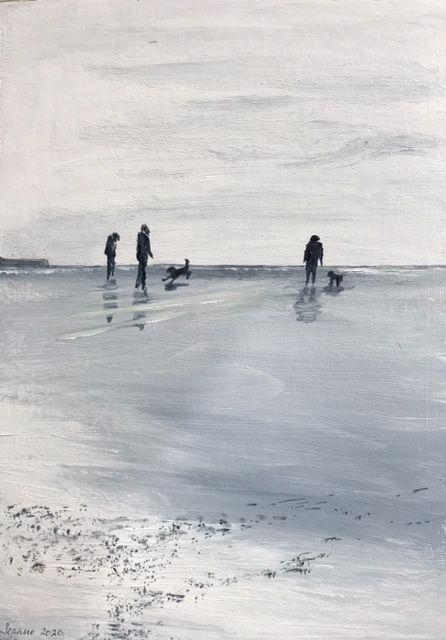 Dogs on the beach monochrome acrylic