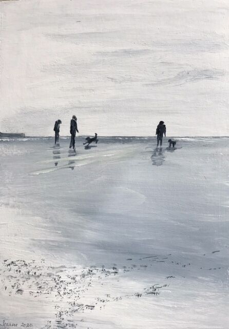 Dogs on the beach monochrome acrylic