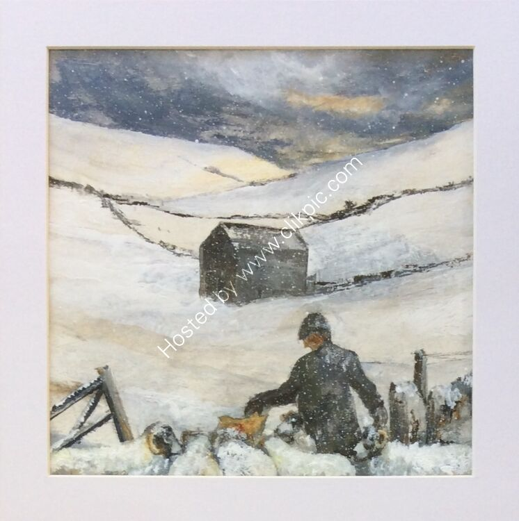 'Feeding the hungry sheep' Yorkshire Dales acrylic