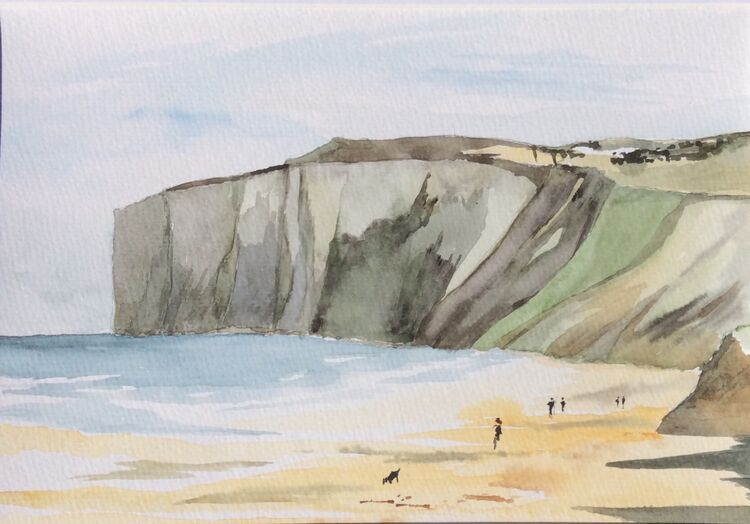 Hunmanby Gap looking towards Bempton Cliffs Watercolour
