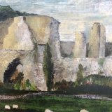 Jervaulx Abbey. This painting was inspired by a plein air session in August 2016 and the sheep just wander around next to the ruins - Lovely