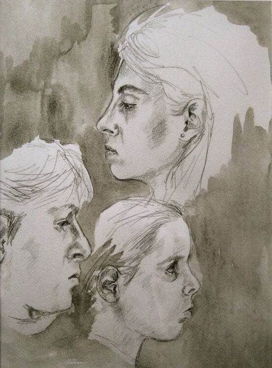 Laura Patrick and Mary  - pencil and ink wash