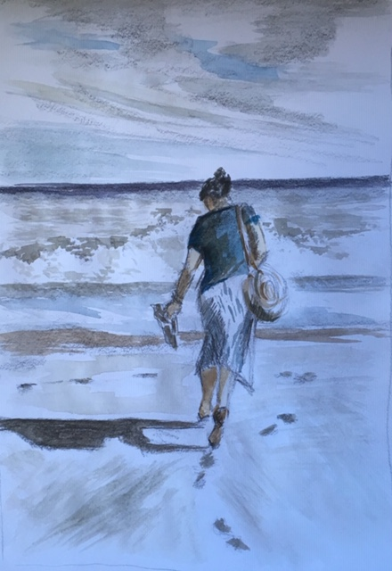 'Laura on the beach, Estepona, Southern Spain'  Watercolour and pencil