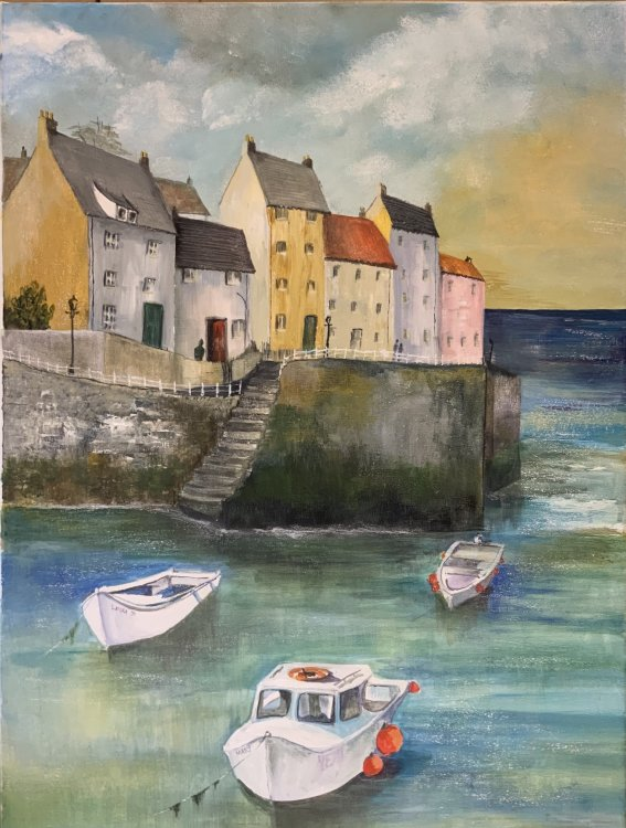 Harbour with Boats  Acrylic