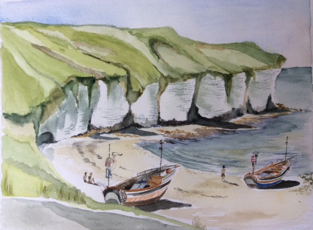 Cobles on beach North Landing Flamborough  Watercolour