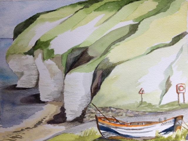 Old abandoned coble North Landing Flamborough  Watercolour