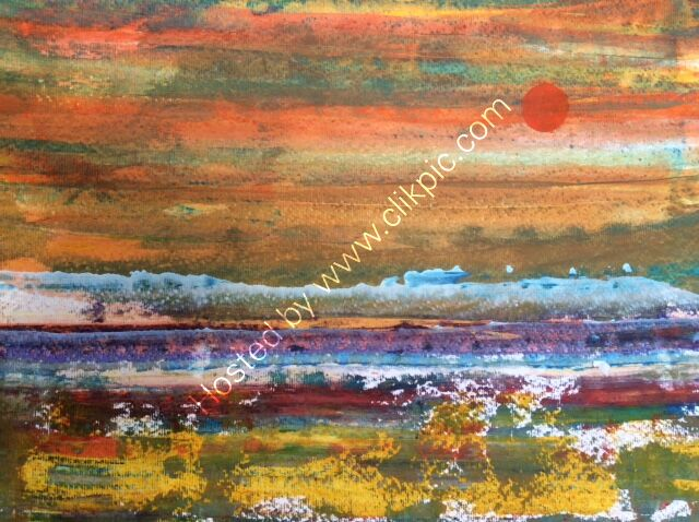 Red Sun - abstract acrylic