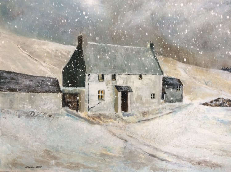 CC1017 Remote farmhouse in winter snow