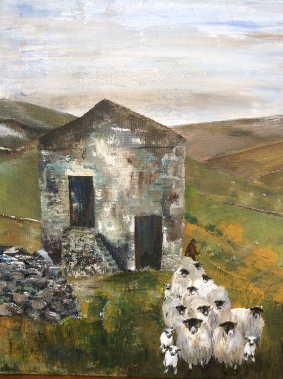 Round the edge of the barn Acrylic on board