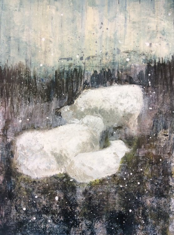 Ryeland sheep in April Snow - mixed media