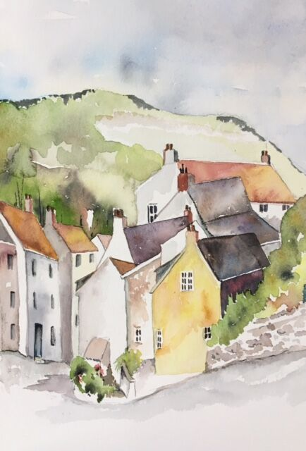 Staithes watercolour 'plein air' painting showing the steep hill