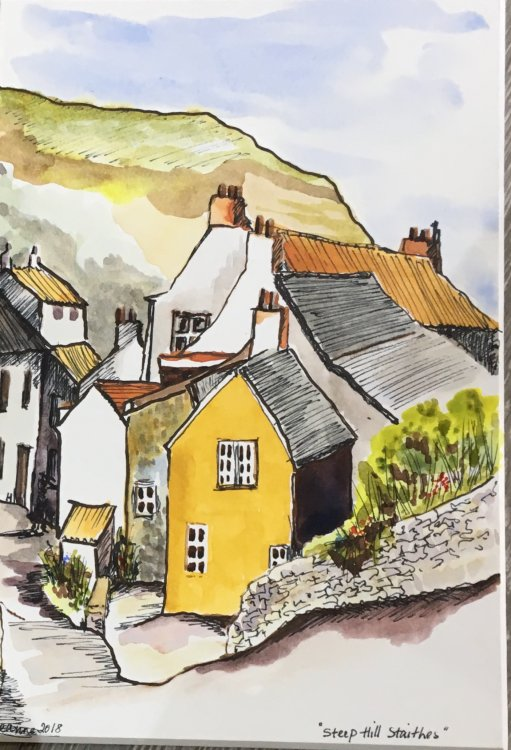'Steep hill. Staithes'  Pen and watercolour