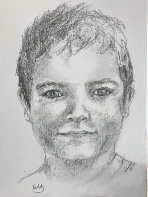 Teddy aged 6 years - pencil portrait