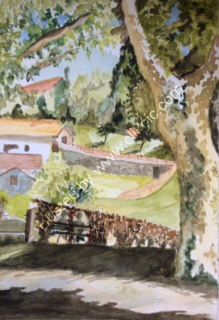 Chatting in the shade (Italy) Watercolour SOLD