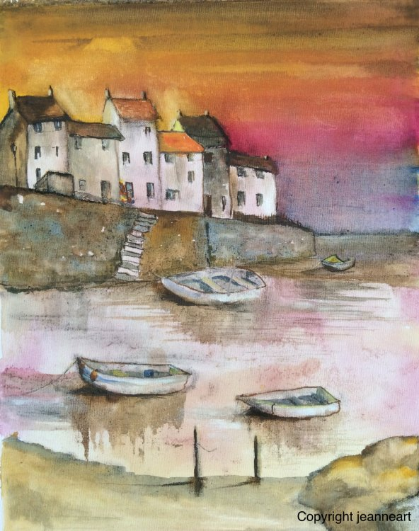 'Inspired by Staithes' Inks, beetroot juice and coffee