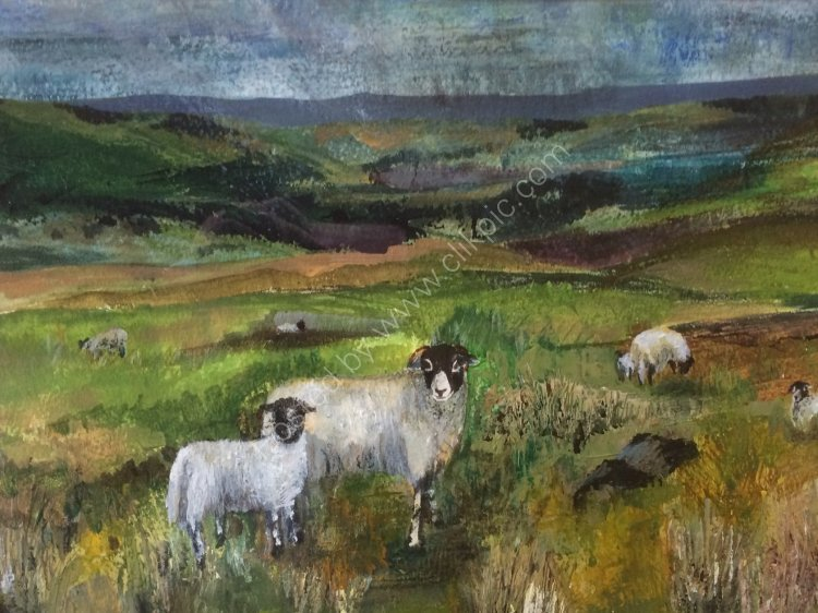 Ewe and lamb Swaledale Original SOLD (prints available)