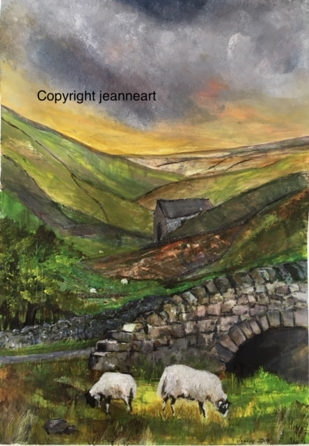 'Ewe with lamb on the road from Tan Hill'' Acrylic Original and prints available