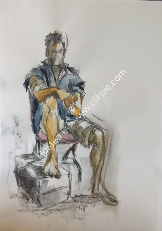 Life drawing 3 watercolour, pencil, pen etc. using large brushes Studio work with David Stead