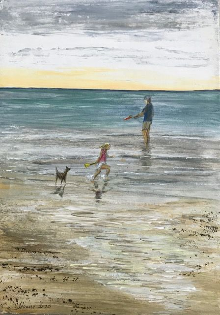 Playing with dad, the dog, and a frisbee on Bridlington beach  Acrylic