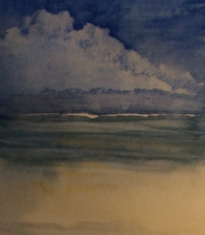 'Storm clouds over the sea, Mauritius' Watercolour