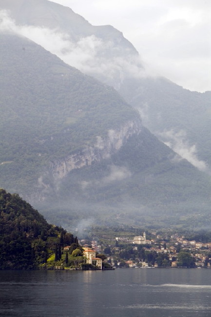 View across Lake Como to Villa Balbianello