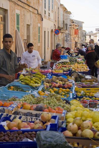 Mallorcan street market fruit and veg stall
