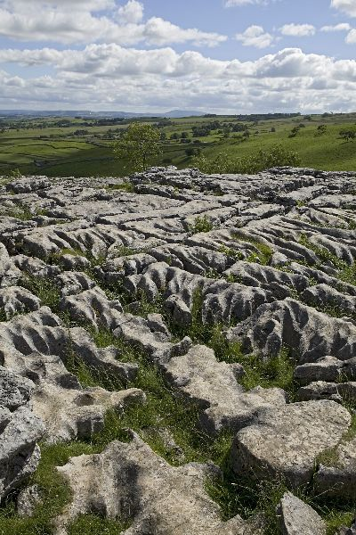 View from Malham Cove towards Pendle Hill in the distance