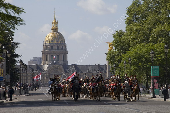 Cavalry parade in front of Hotel des Invalides