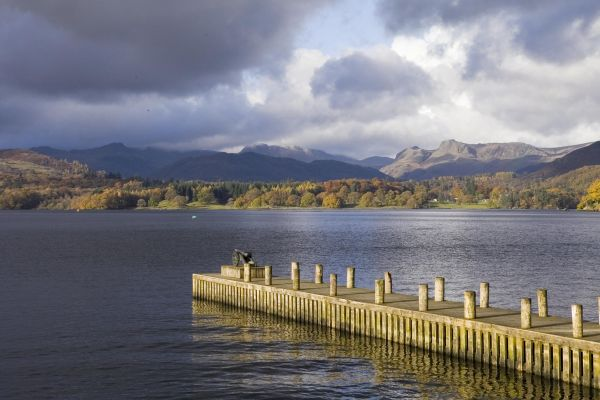 Pier at Ambleside with Langdale Pikes in background