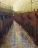 Ancoats antlers - Oil on canvas 91x91cm - £995