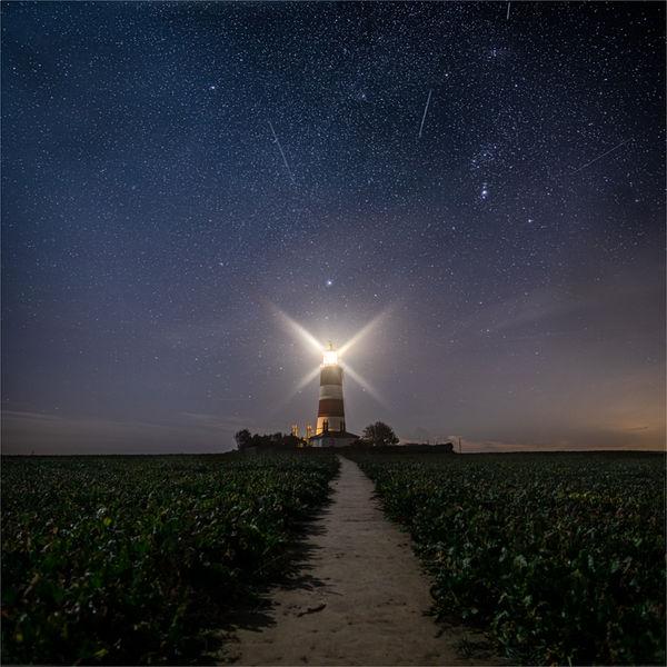Orionids meteor shower over Happisburgh lighthouse