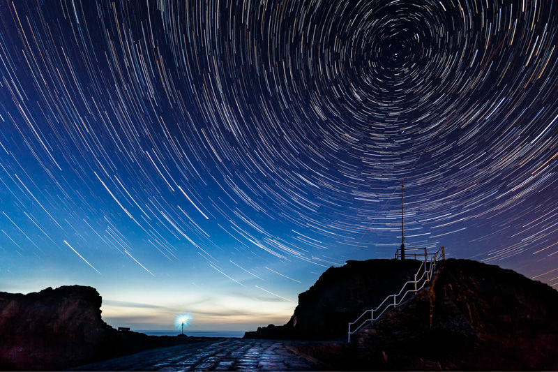 Star trails over the Causeway