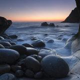Crescent moon over Porth Nanven