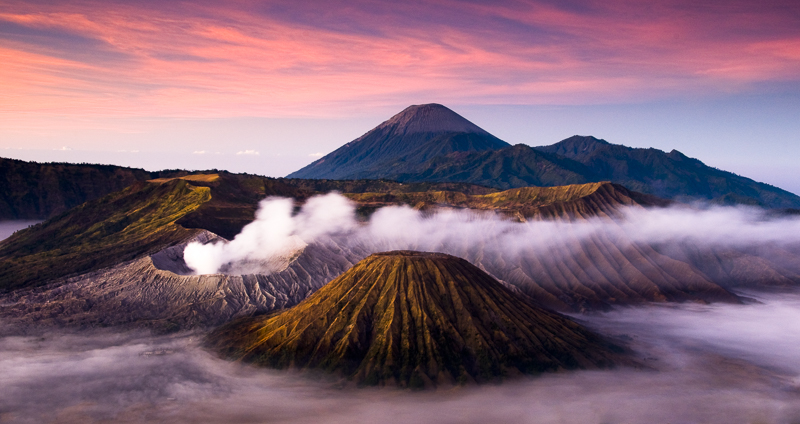 Pink dawn at Mt Bromo